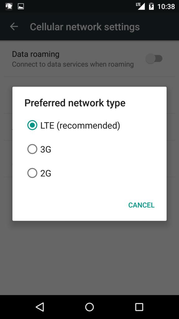 LTEが選ばれていれば大丈夫